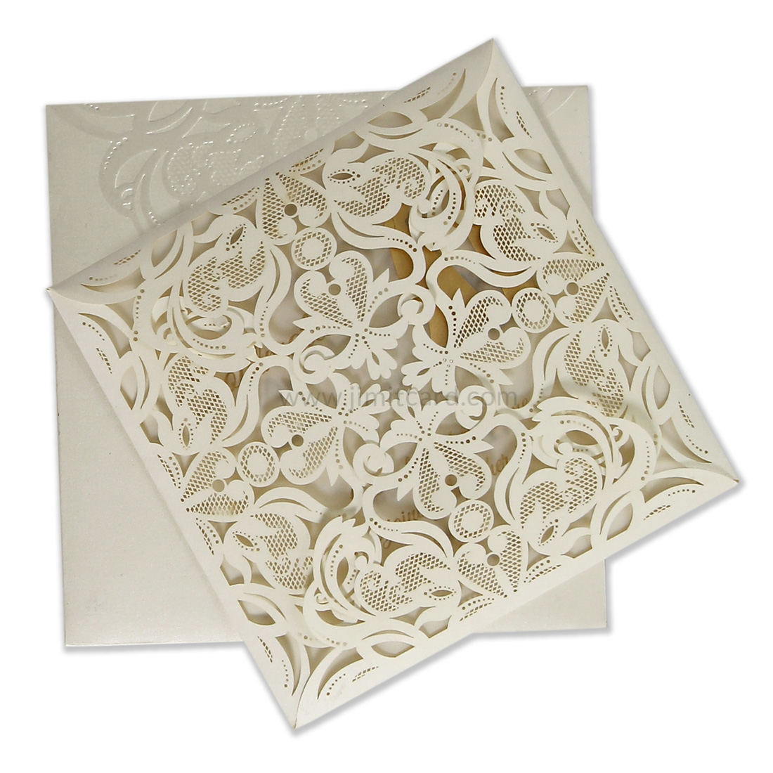 Wedding Invitation With Fine Laser Cut in Beige Color-0