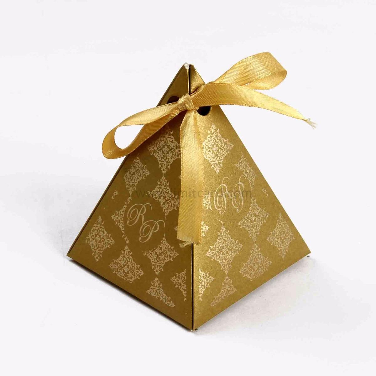 Pyramid Favor Box - Golden -0