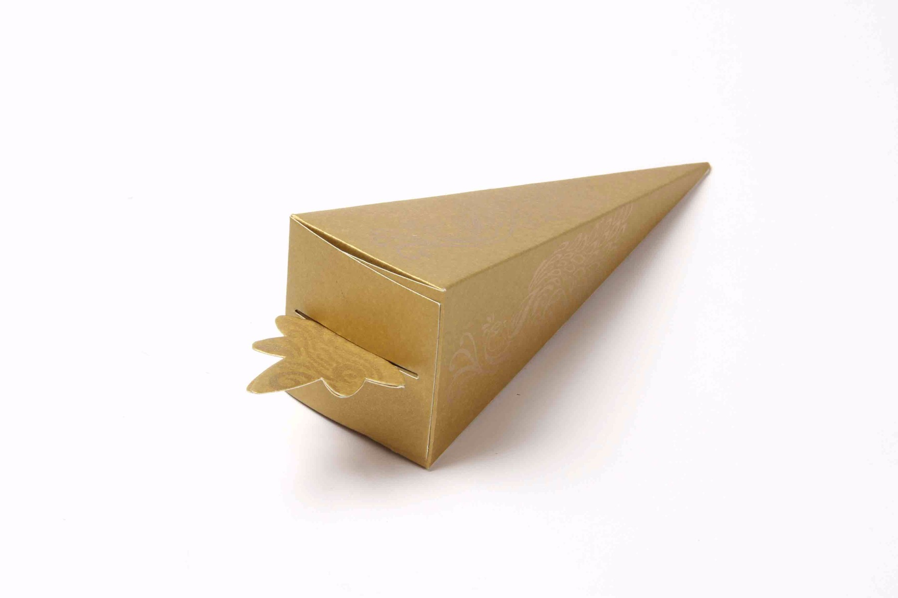 Cone Shaped Favor Box in Golden Color