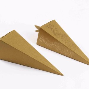 Cone Shaped Favor Box No 8 - Golden -0