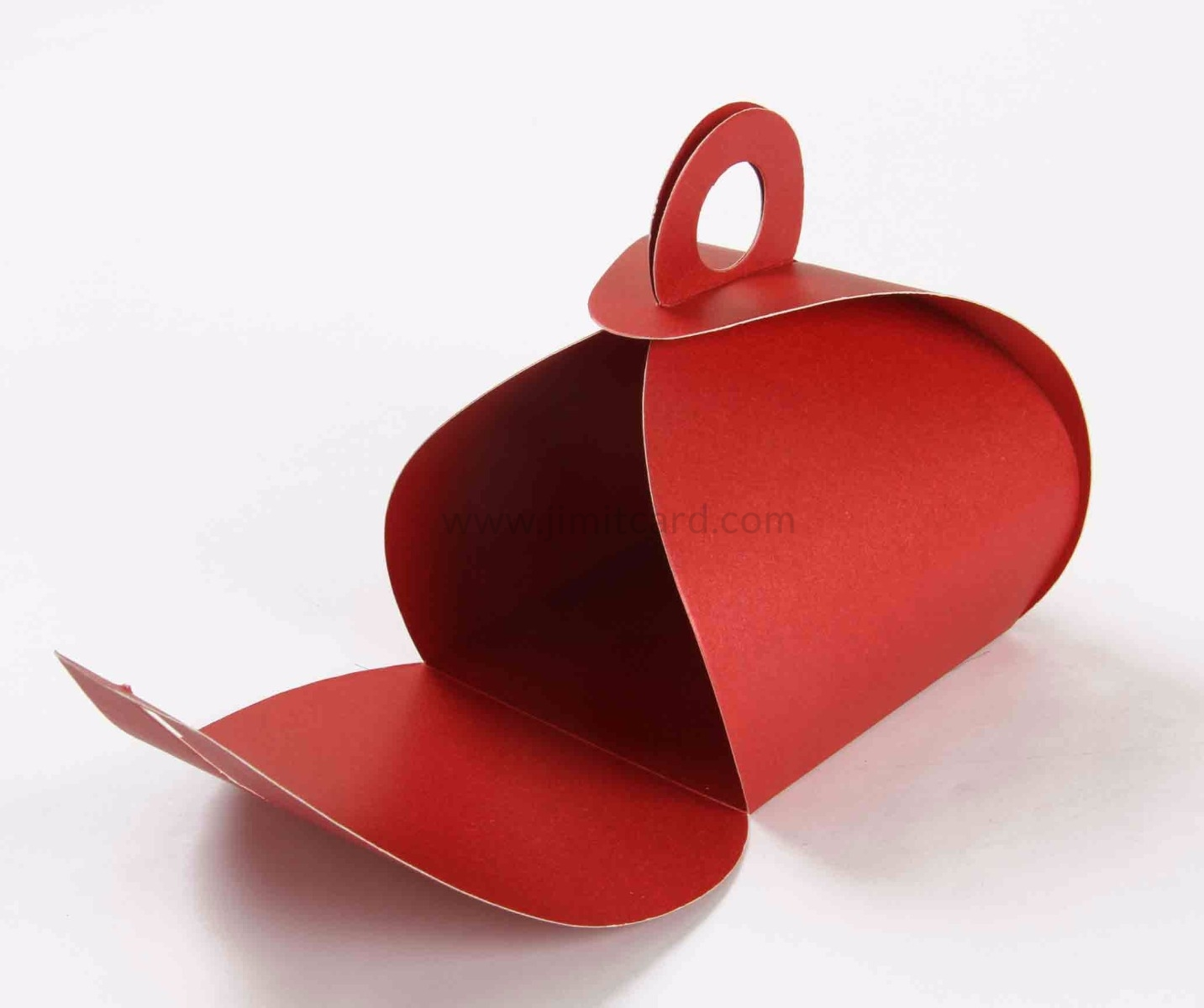 Roll top party Favor Box in Red with a Holder