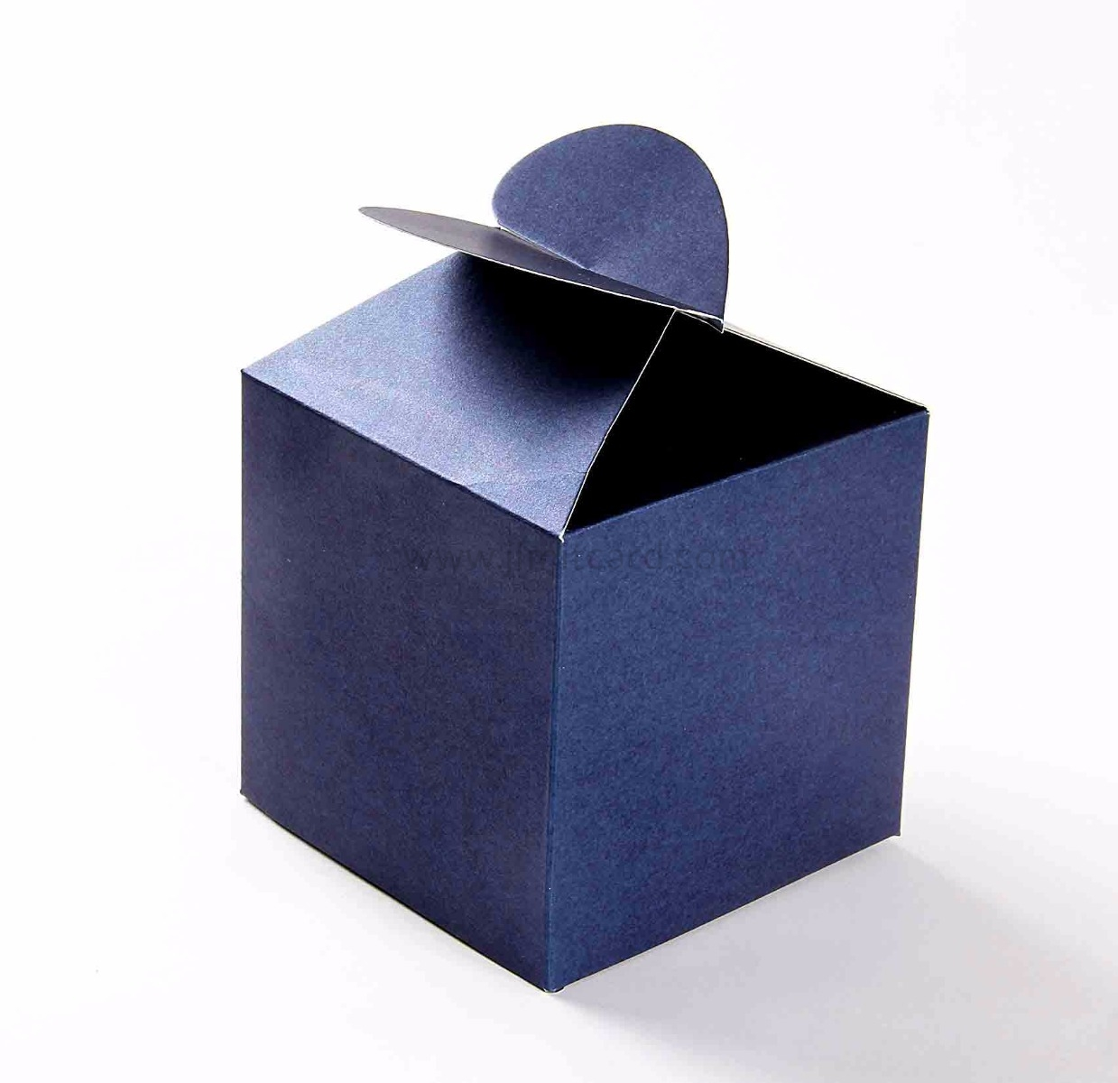 Square Wedding Party Favor Box in Royal Blue with a Heart Flap