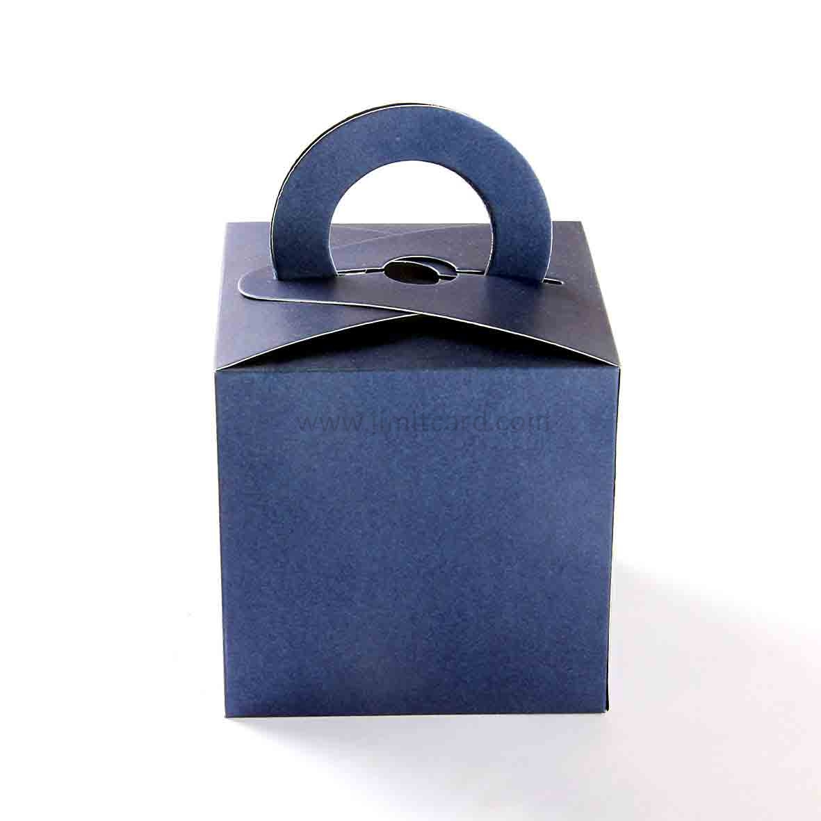 Square Wedding Party Favor Box in Royal Blue with a Holder