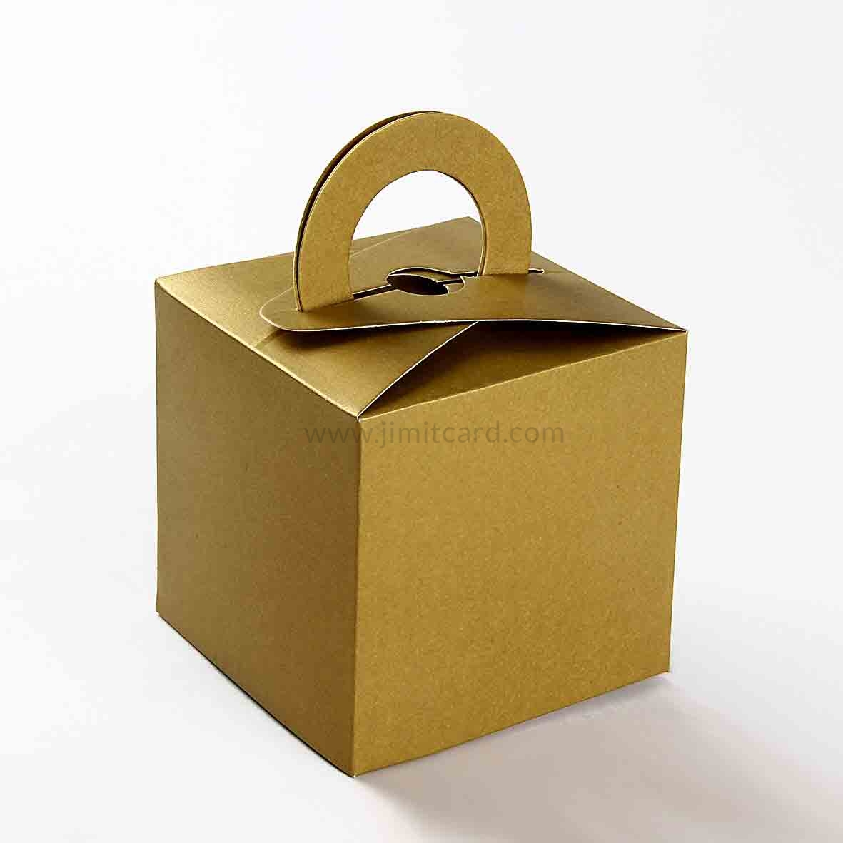 Square Wedding Party Favor Box in Golden Color with a Holder