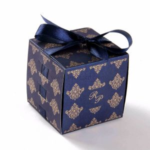 Bow Top Cube Favor Box No 5 - Royal Blue-0
