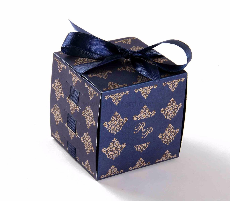Bow Top Cube Favor Box No 5 - Royal Blue-0