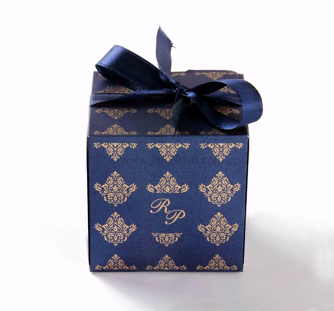 Bow Top Cube Favor Box in Royal Blue Color