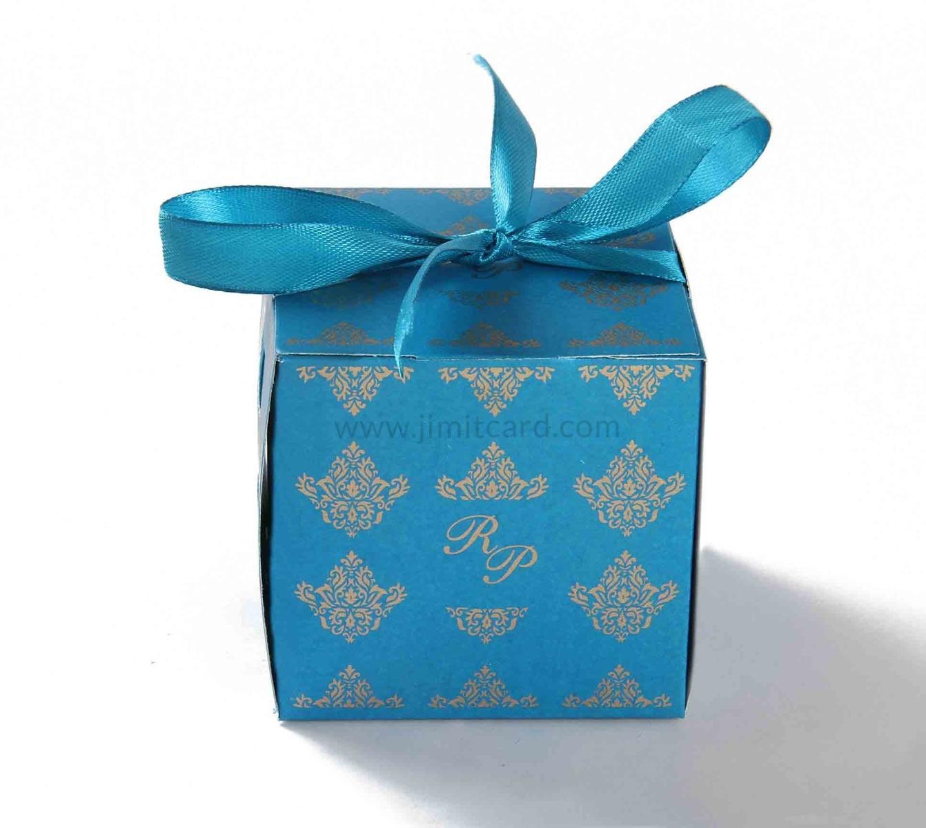 Bow Top Cube Favor Box No 5 - Firoze Blue-8533