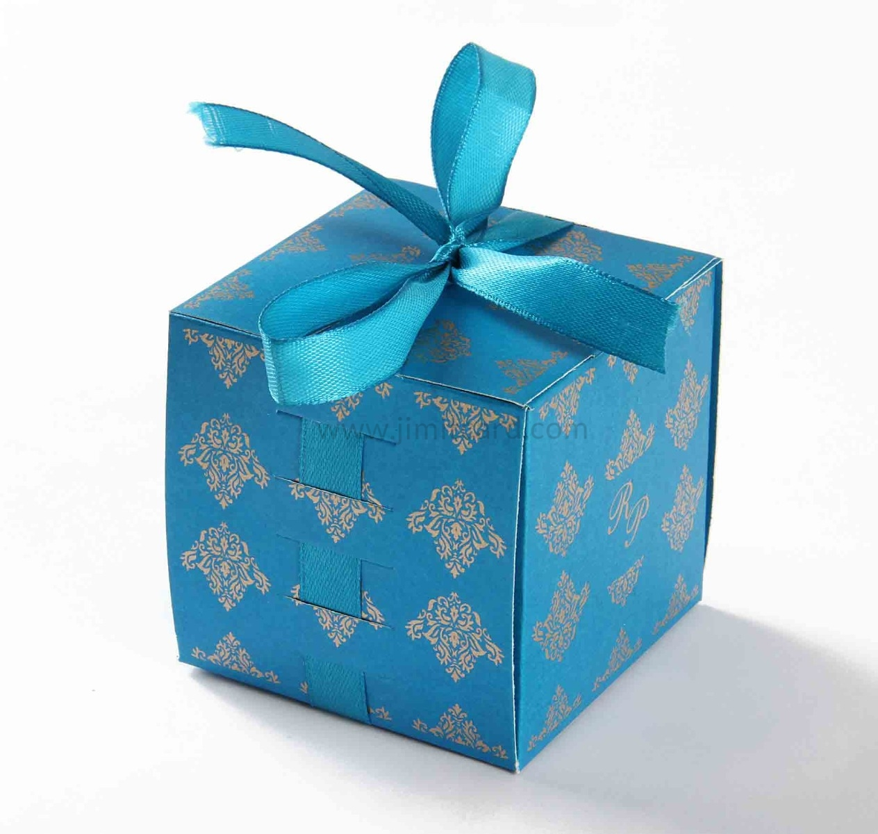 Bow Top Cube Favor Box No 5 - Firoze Blue-8532