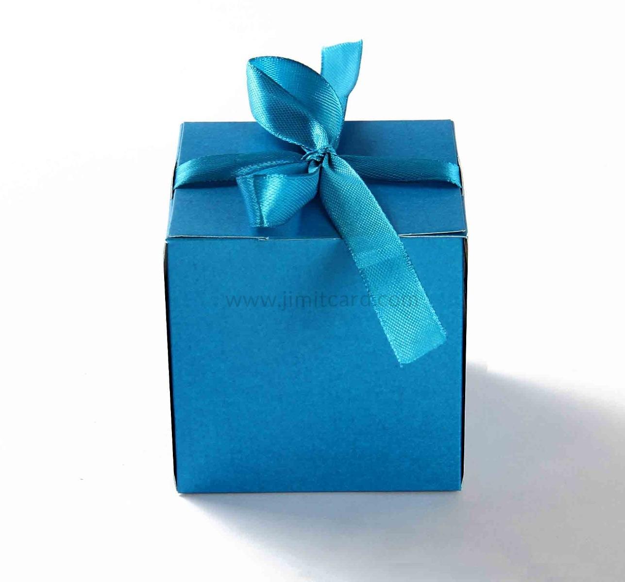 Bow Top Cube Favor Box No 5 - Firoze Blue-8535