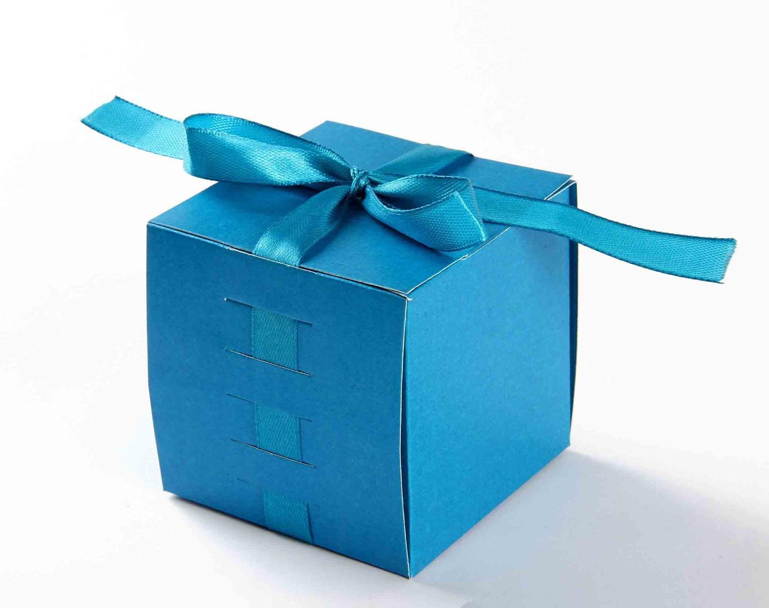 Bow Top Cube Favor Box No 5 - Firoze Blue-8534