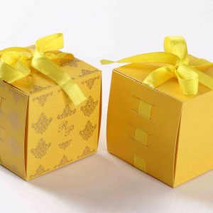 Bow Top Cube Favor Box No 5 - Yellow -0