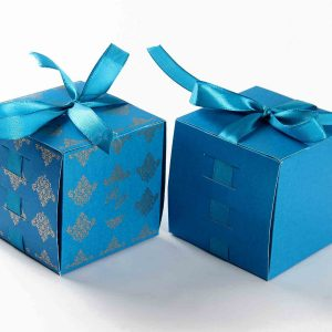 Bow Top Cube Favor Box No 5 - Firoze Blue-0