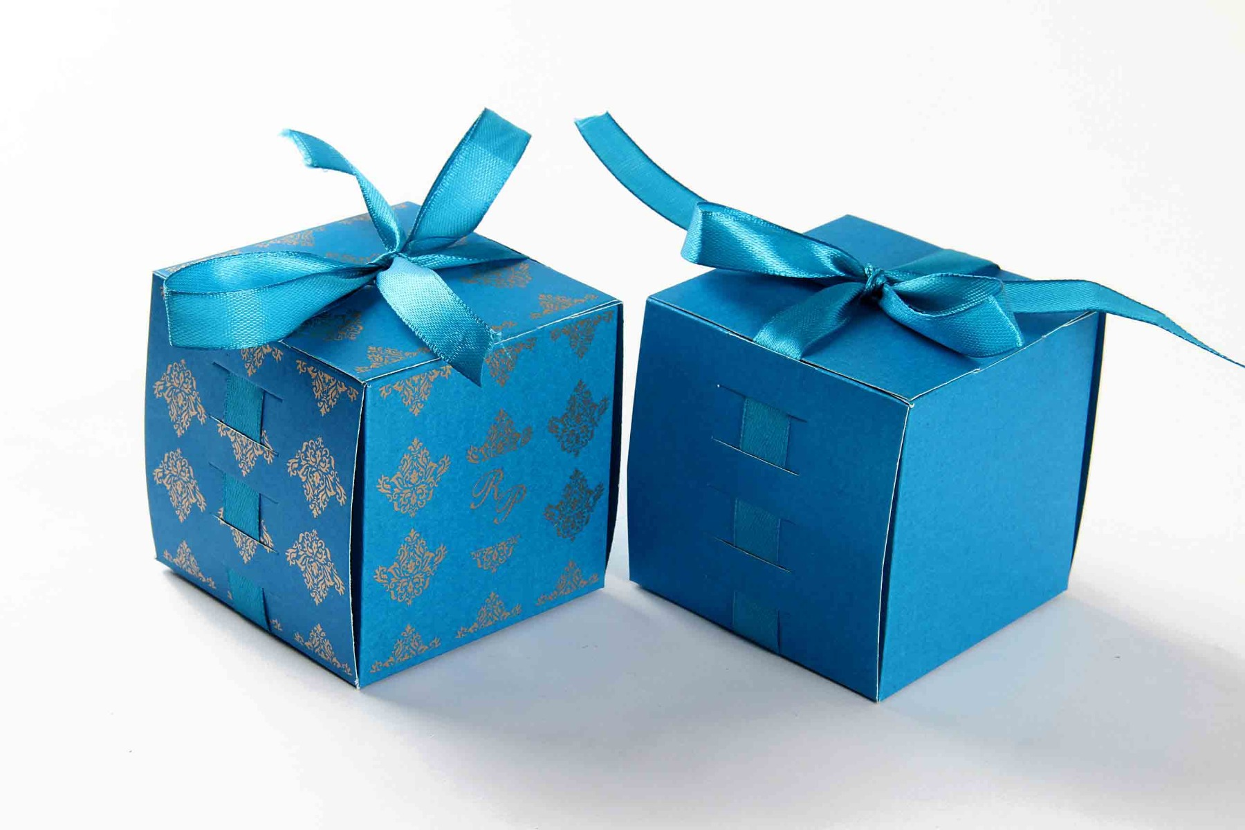 Bow Top Cube Favor Box No 5 - Firoze Blue-0