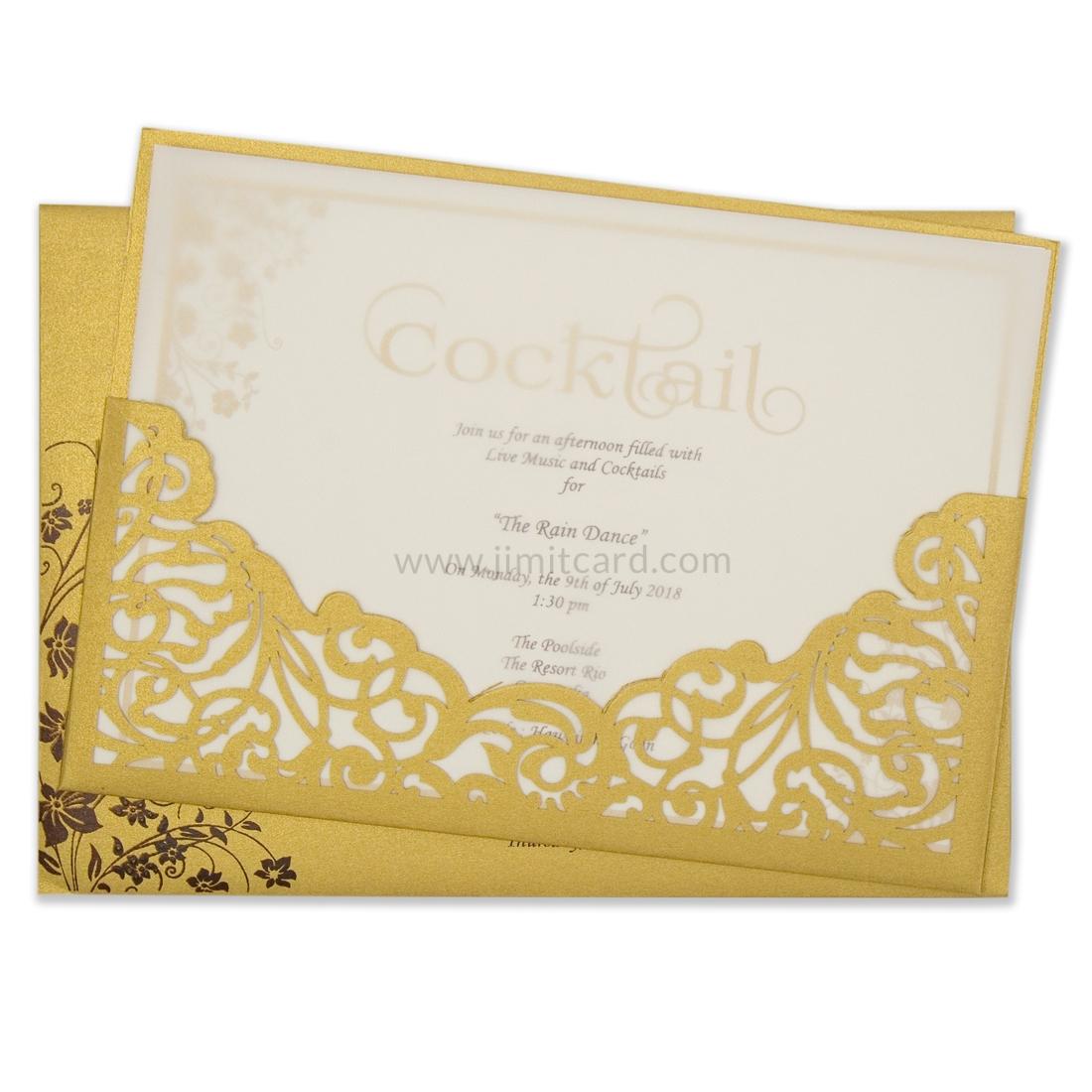 Golden Laser Cut Wedding Card-0