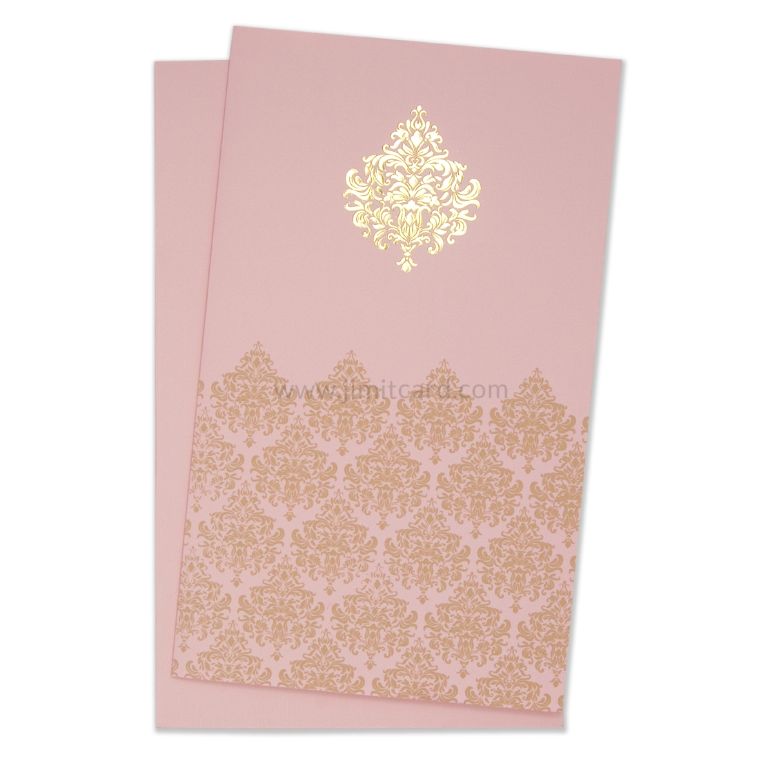 Pastel Pink Color Shaadi Card with Traditional Motifs -0