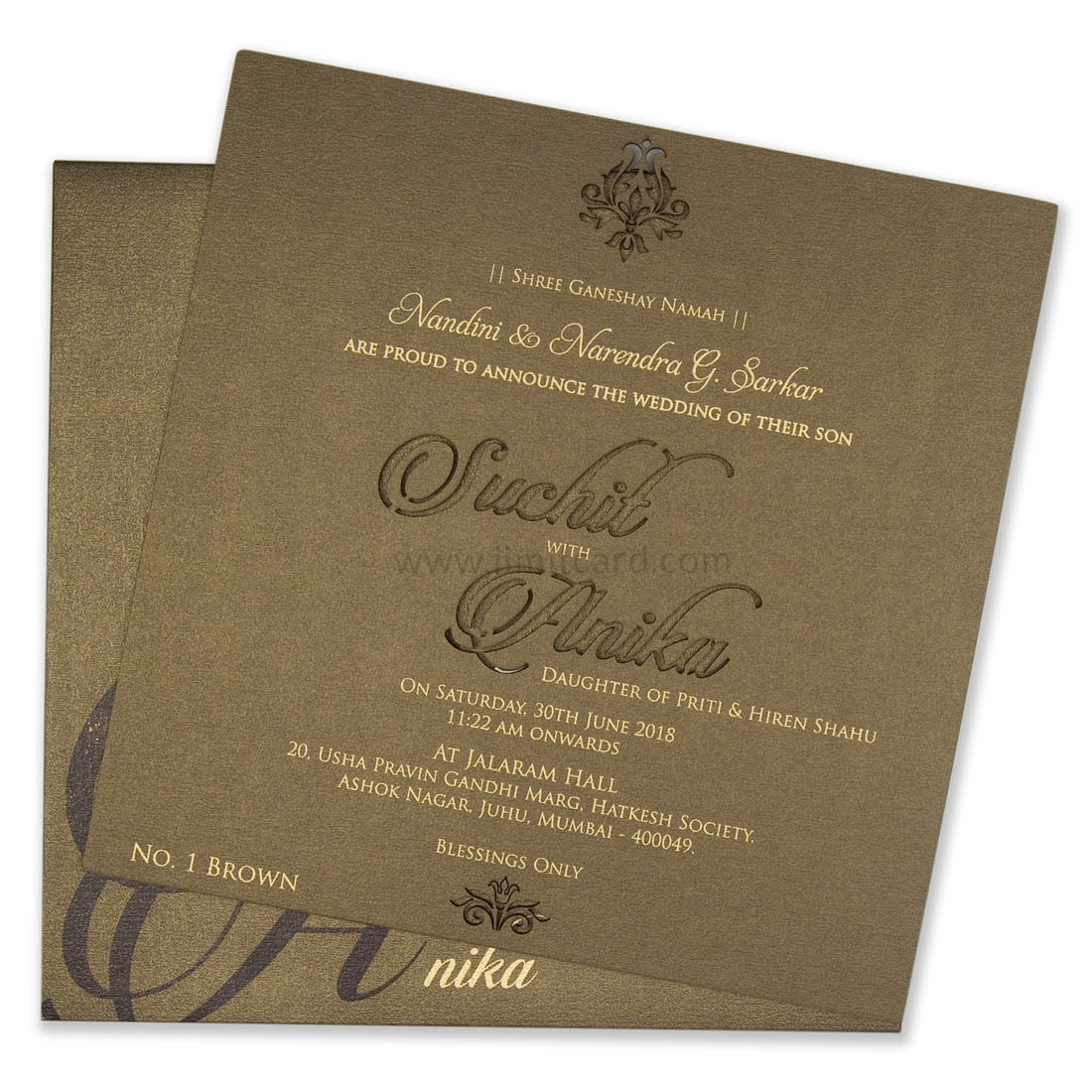 Customised Wodden Laser Cut Wedding Invitation Card-0