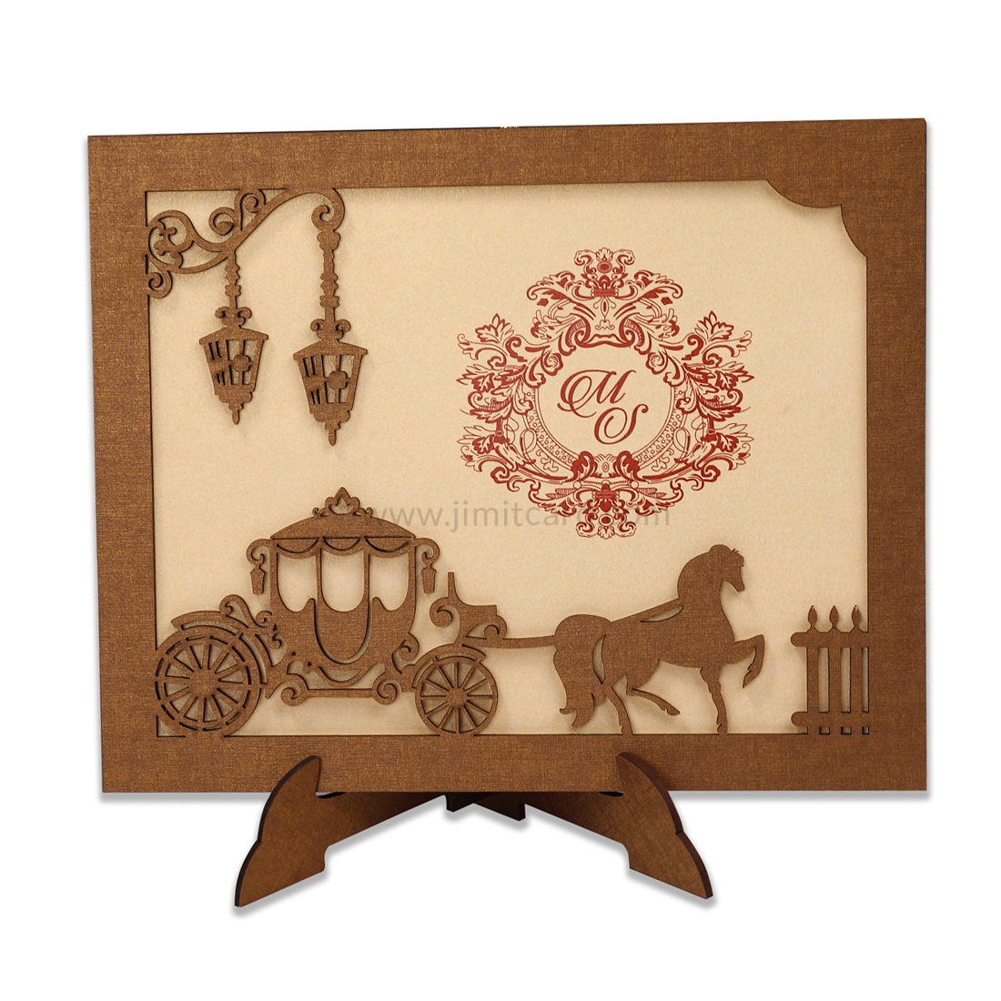 Chariot Design Wooden Laser Cut Marriage Invitation Card Usable as Photo Frame-0