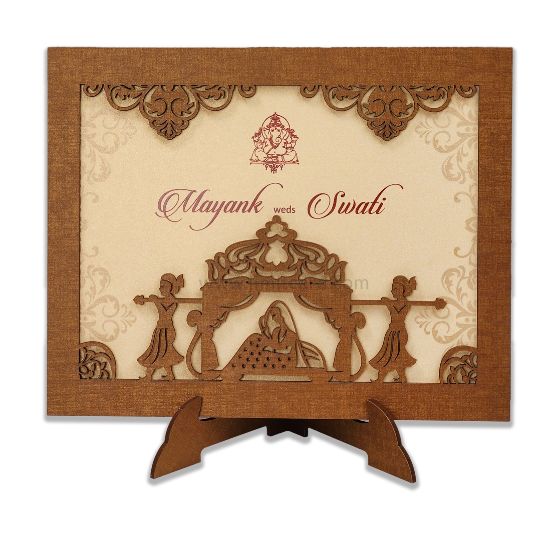 Special Wooden Laser Cut Wedding Card frame style for Dulhan-0