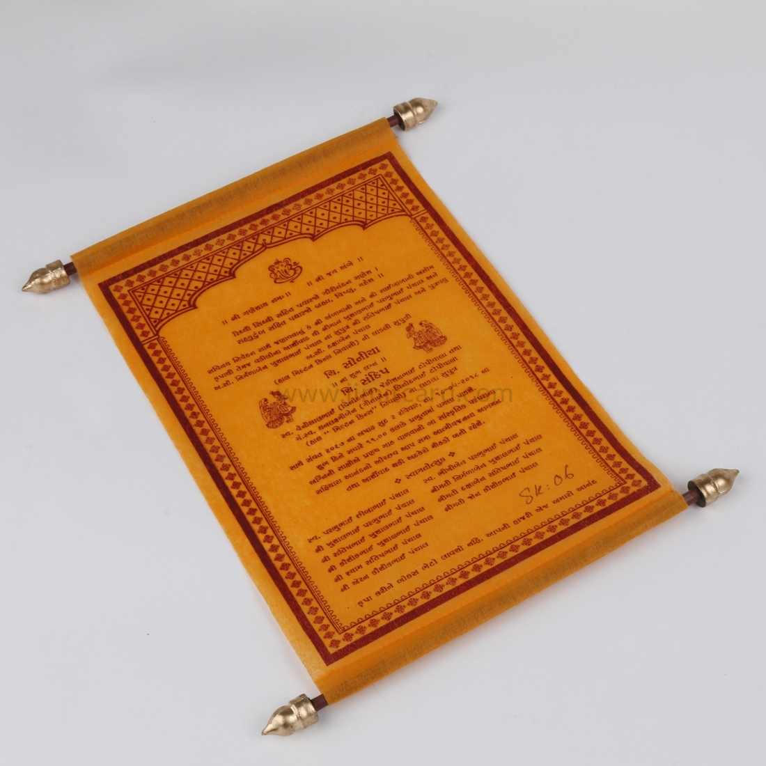 Traditional Scroll Wedding Card in Orange Wooly Paper-8526