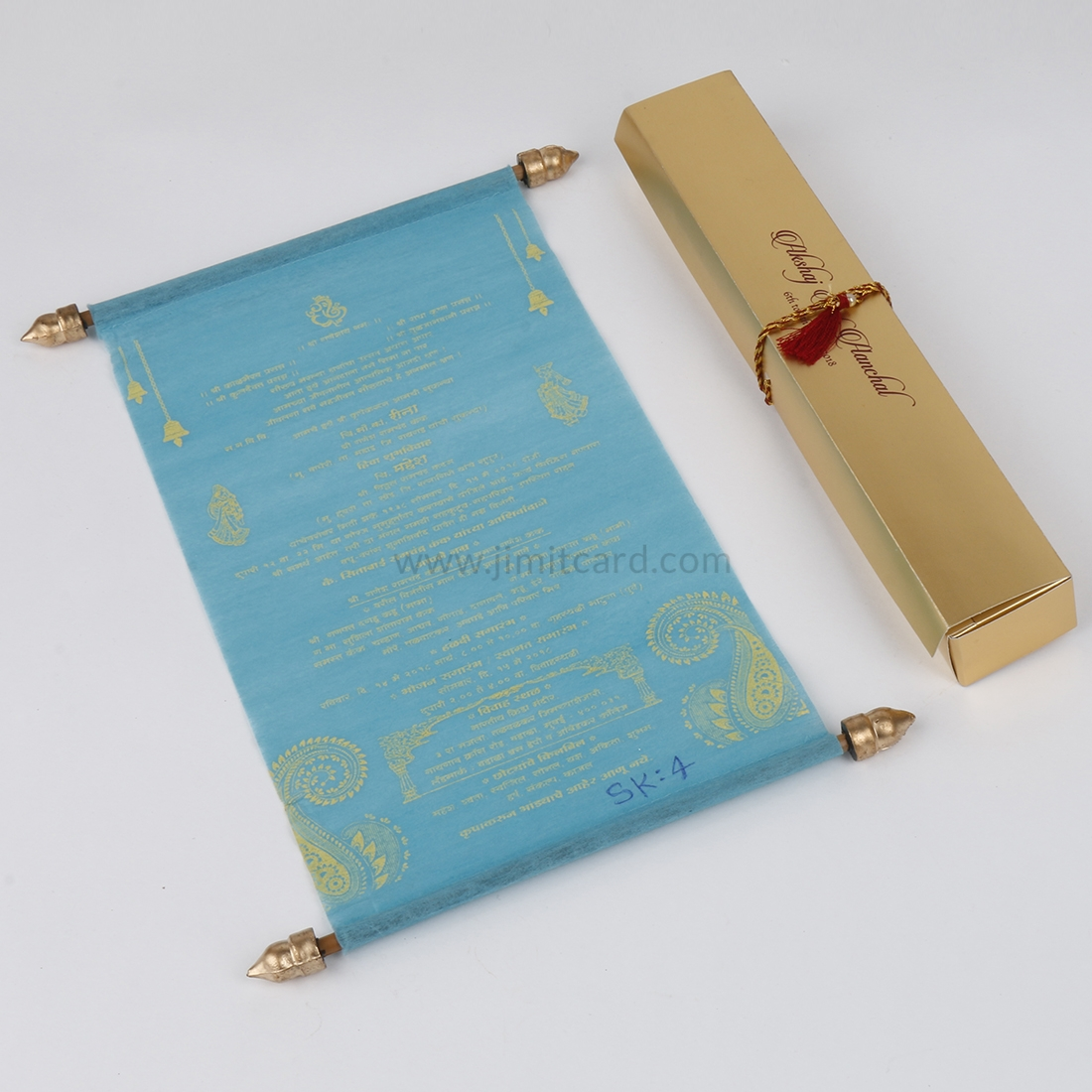 Sky Blue Wooly Paper Scroll Pattern for Wedding Invitation Cards-0