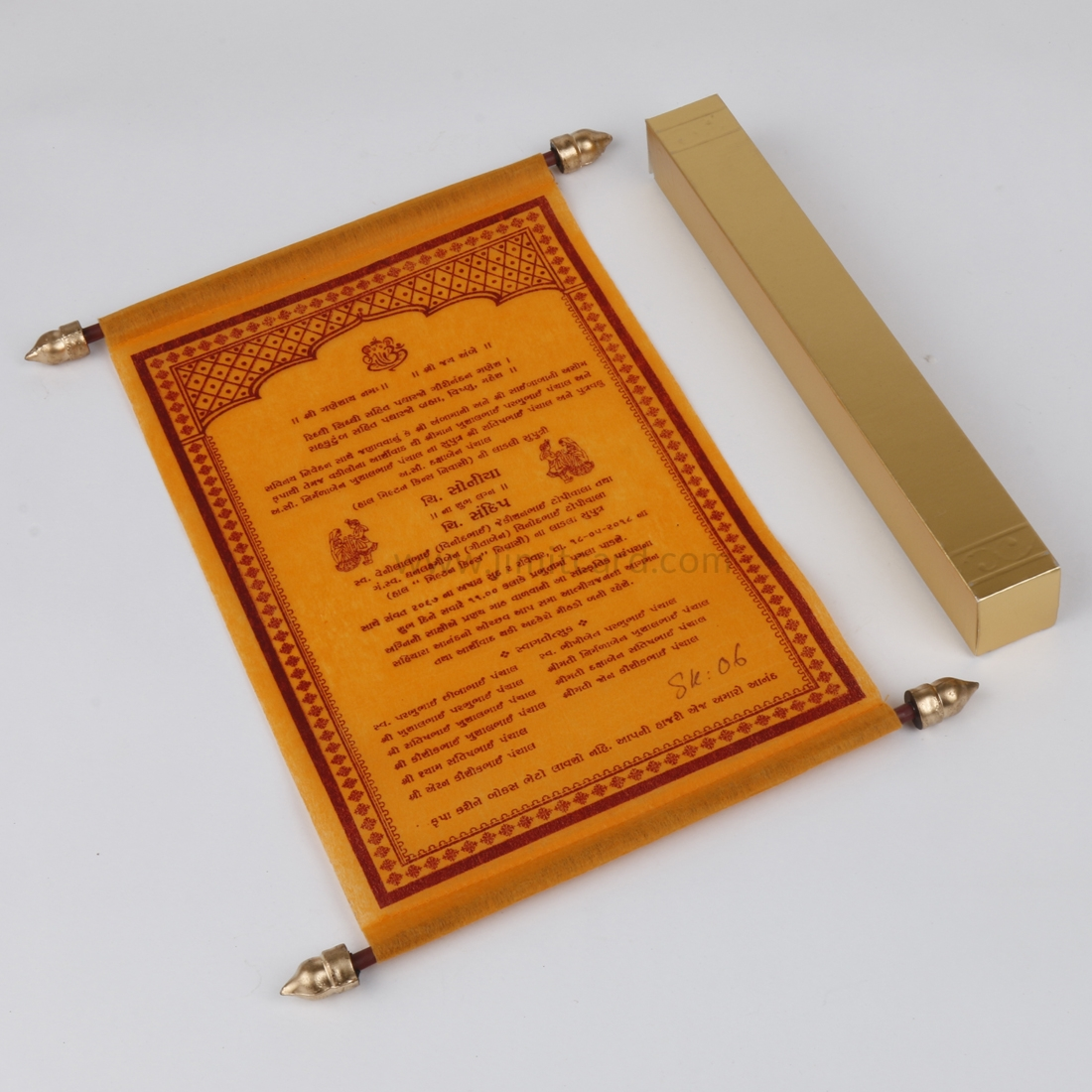 Traditional Scroll Wedding Card in Orange Wooly Paper-8524