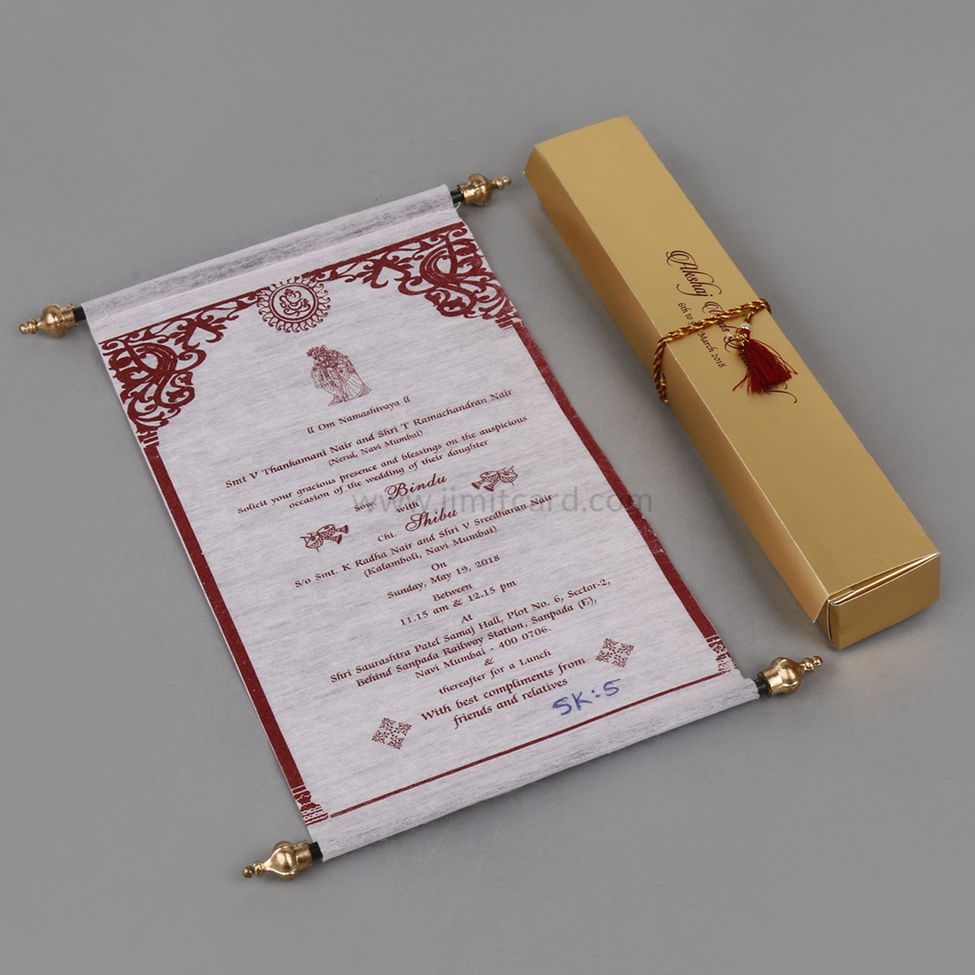Light Pink Wooly Paper Scroll Type Wedding Card-0