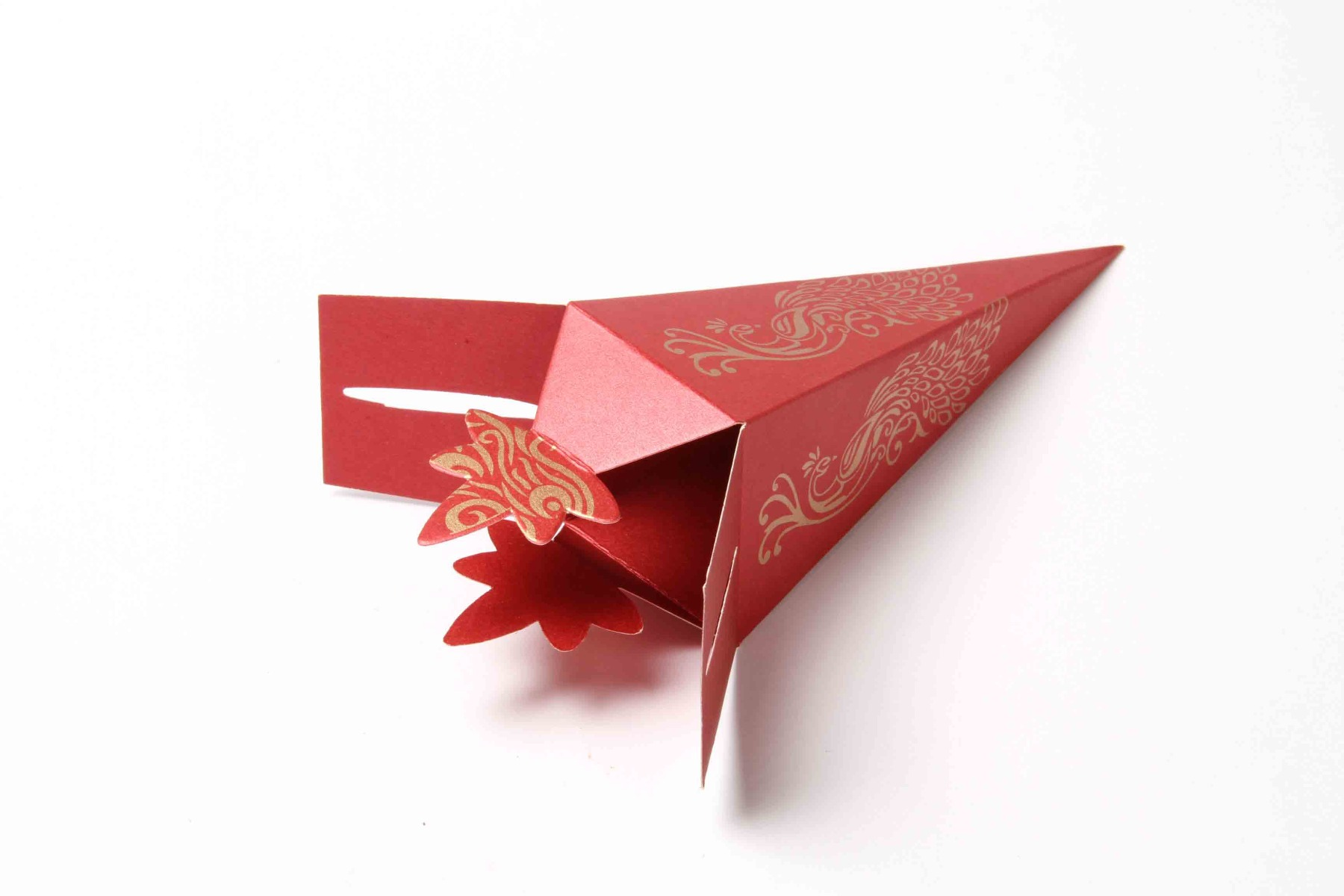 Cone Shaped Favor Box No 8 - Red-8618