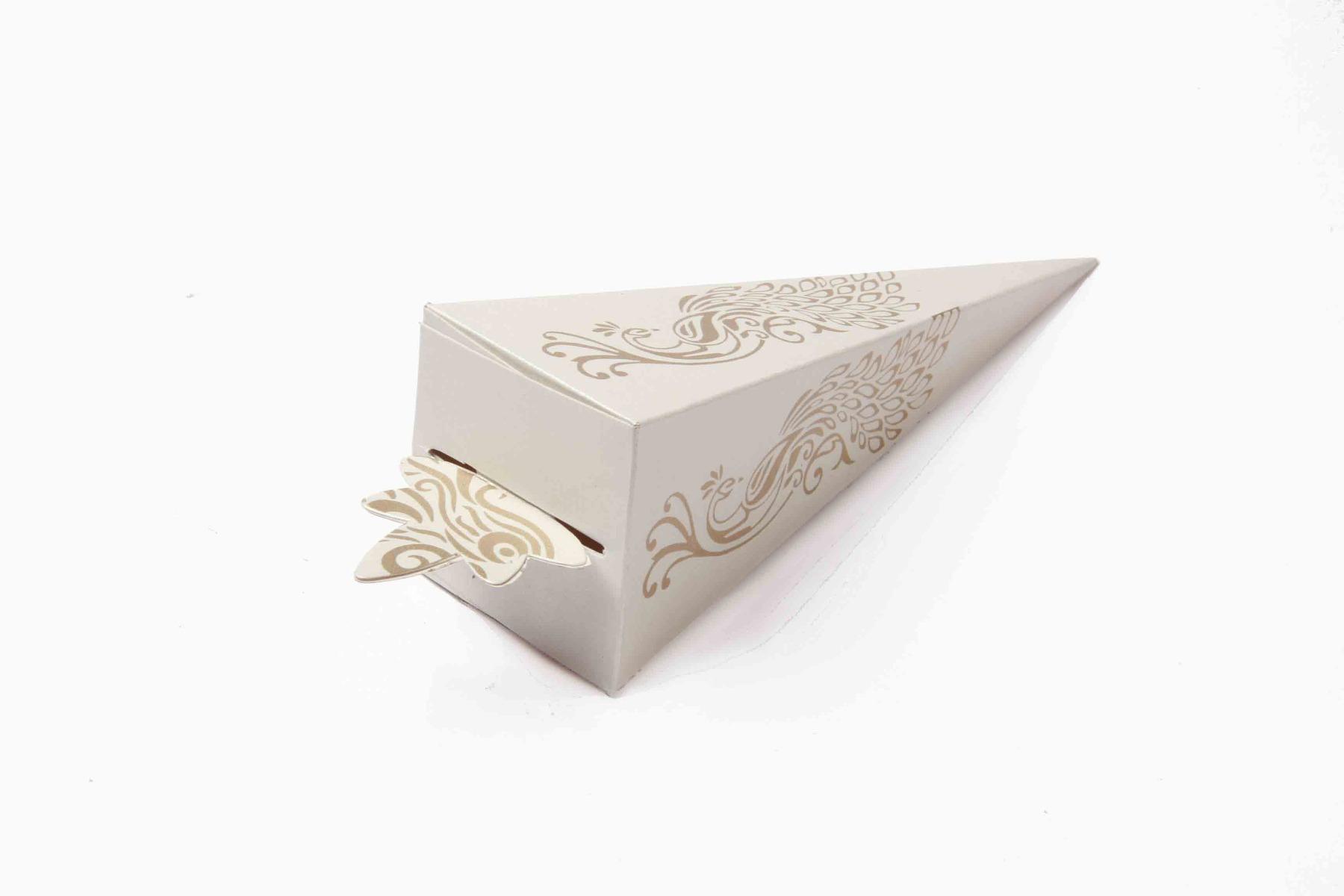 Cone Shaped Favor Box No 8 - White-8615