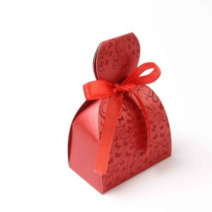Bridal Dress Favor Box No 7 - Red-0