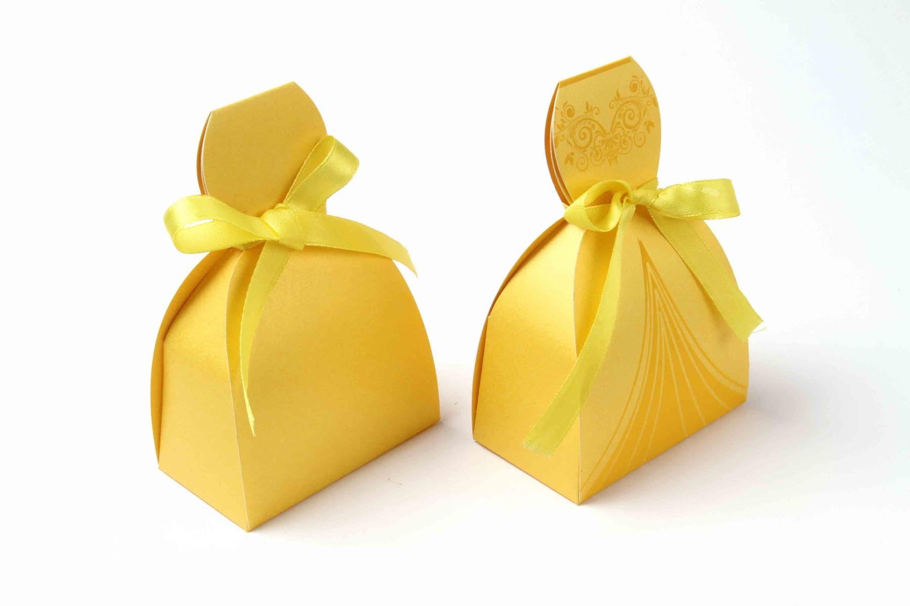 Bridal Dress Favor Box No 7 - Yellow-8606