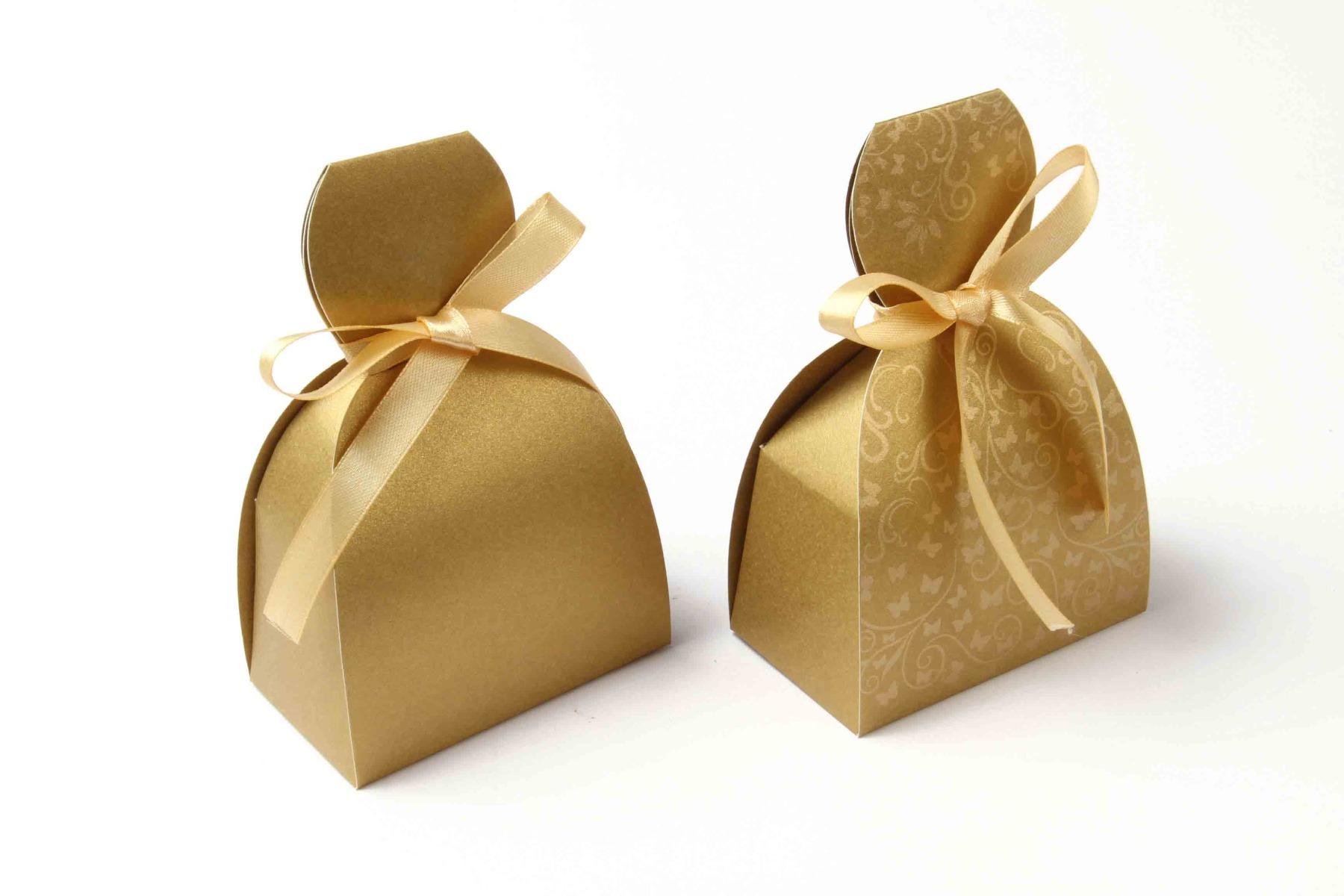 Bridal Dress Favor Box No 7 - Golden-8608
