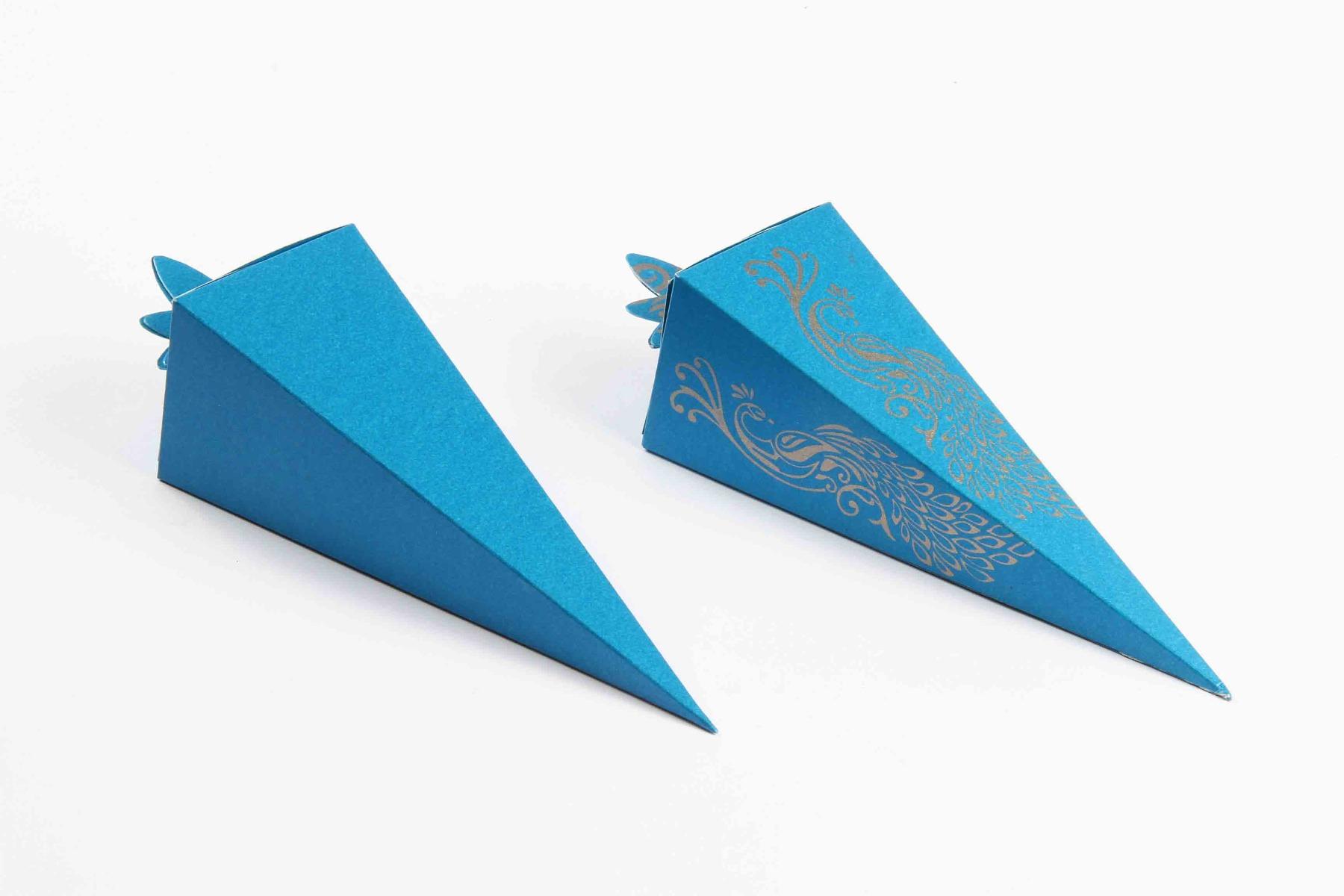 Cone Shaped Favor Box No 8 - Firoze Blue-8624