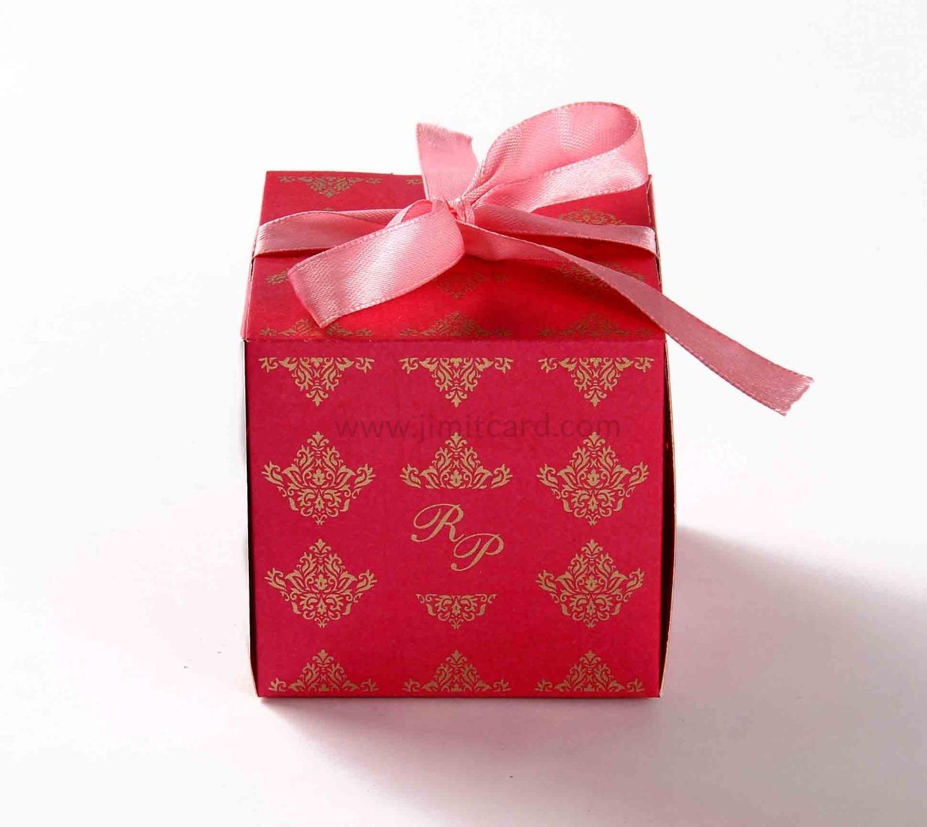 Bow Top Cube Favor Box No 5 - Pink-8547