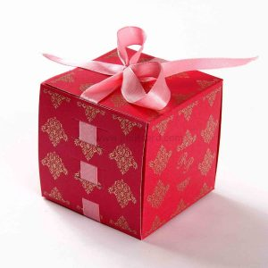 Bow Top Cube Favor Box No 5 - Pink-0