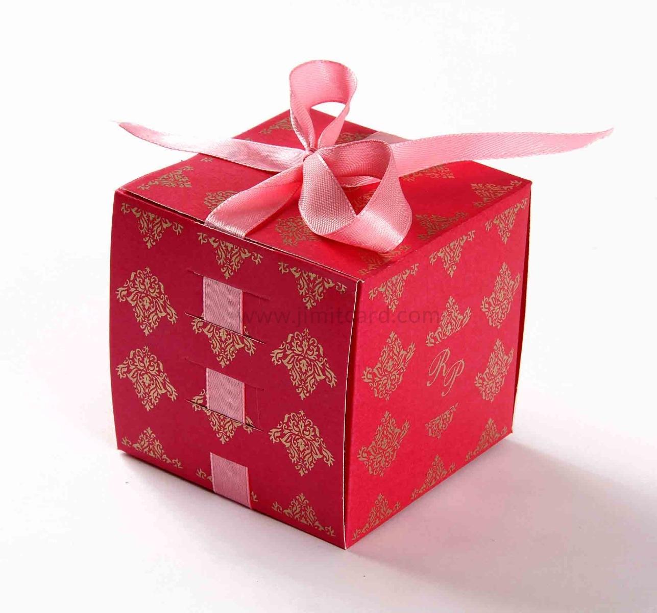 Bow Top Cube Favor Box No 5 - Pink-0