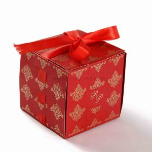 Bow Top Cube Favor Box No 5 - Red-0
