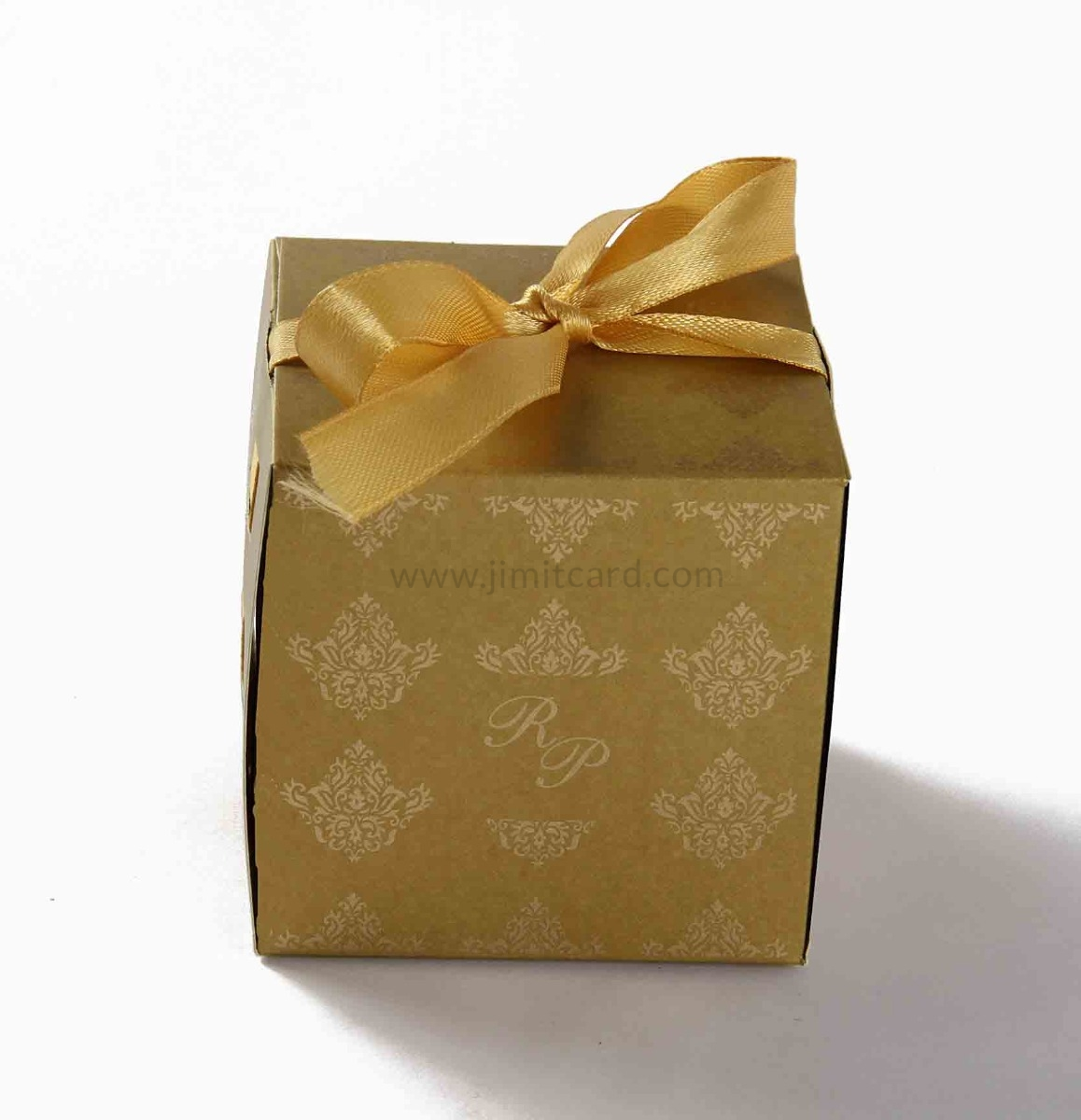 Bow Top Cube Favor Box No 5 - Golden-8553