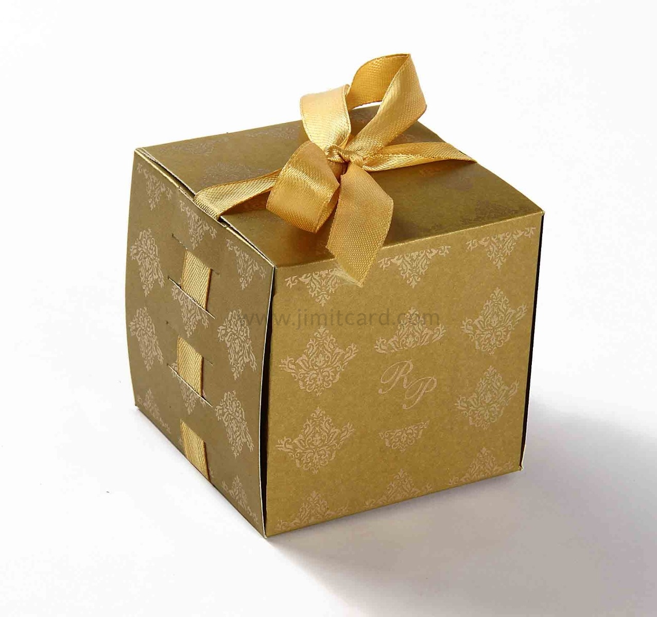 Bow Top Cube Favor Box No 5 - Golden-8552
