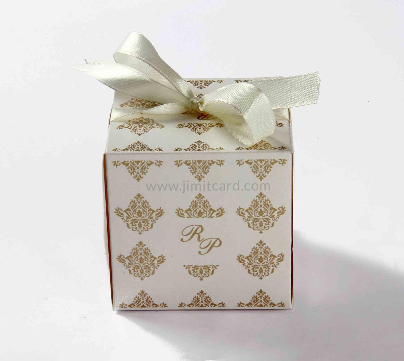 Bow Top Cube Favor Box No 5 - White-8543