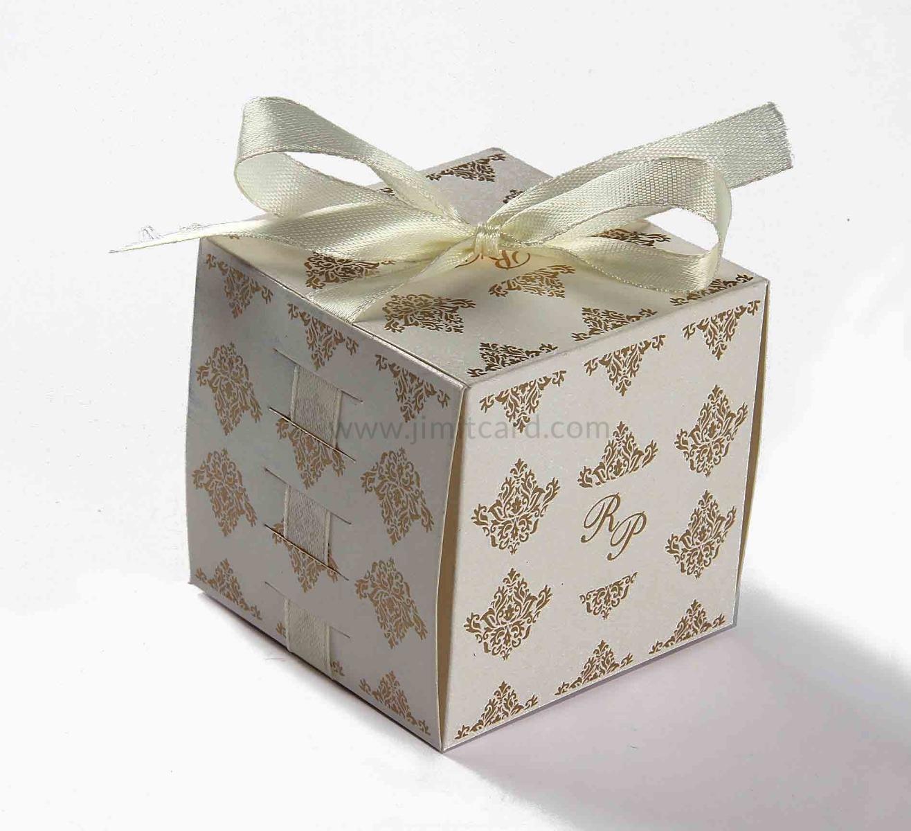 Bow Top Cube Favor Box No 5 - White-8542