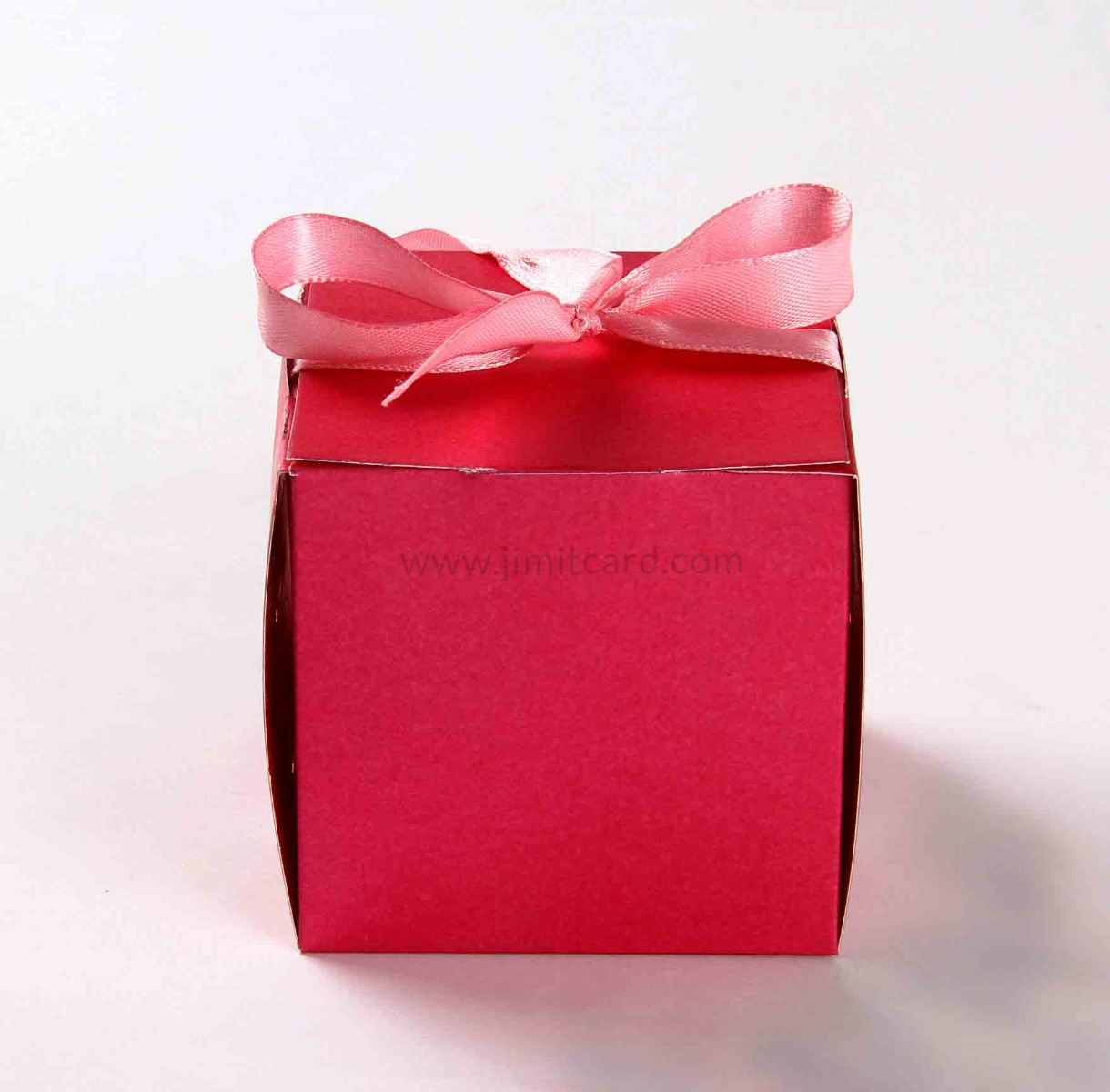 Bow Top Cube Favor Box No 5 - Pink-8549