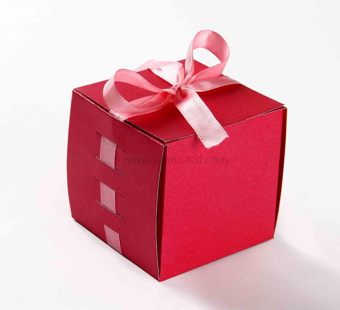 Bow Top Cube Favor Box No 5 - Pink-8548