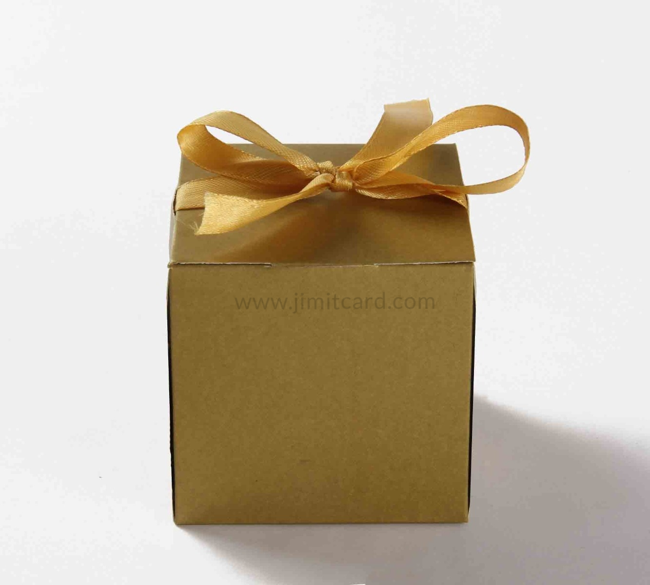Bow Top Cube Favor Box No 5 - Golden-8555