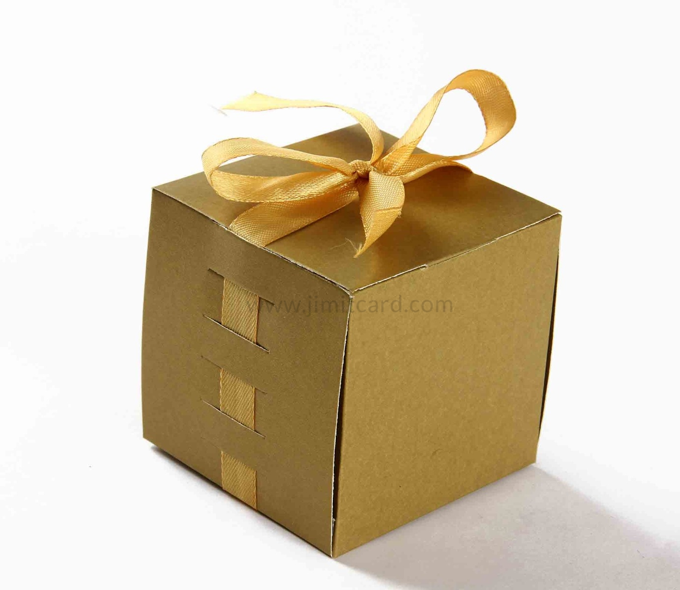 Bow Top Cube Favor Box No 5 - Golden-8554
