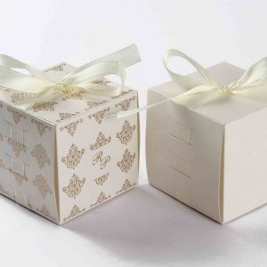 Bow Top Cube Favor Box No 5 - White-0