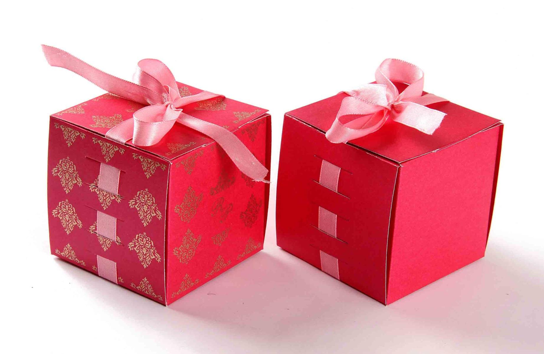 Bow Top Cube Favor Box No 5 - Pink-8550
