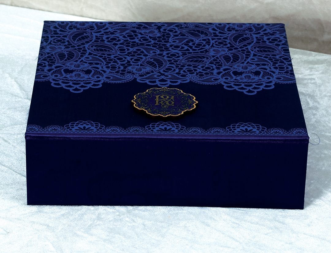 Designer Royal Boxed Indian Wedding Invitation Card in Rich Frabic-9294