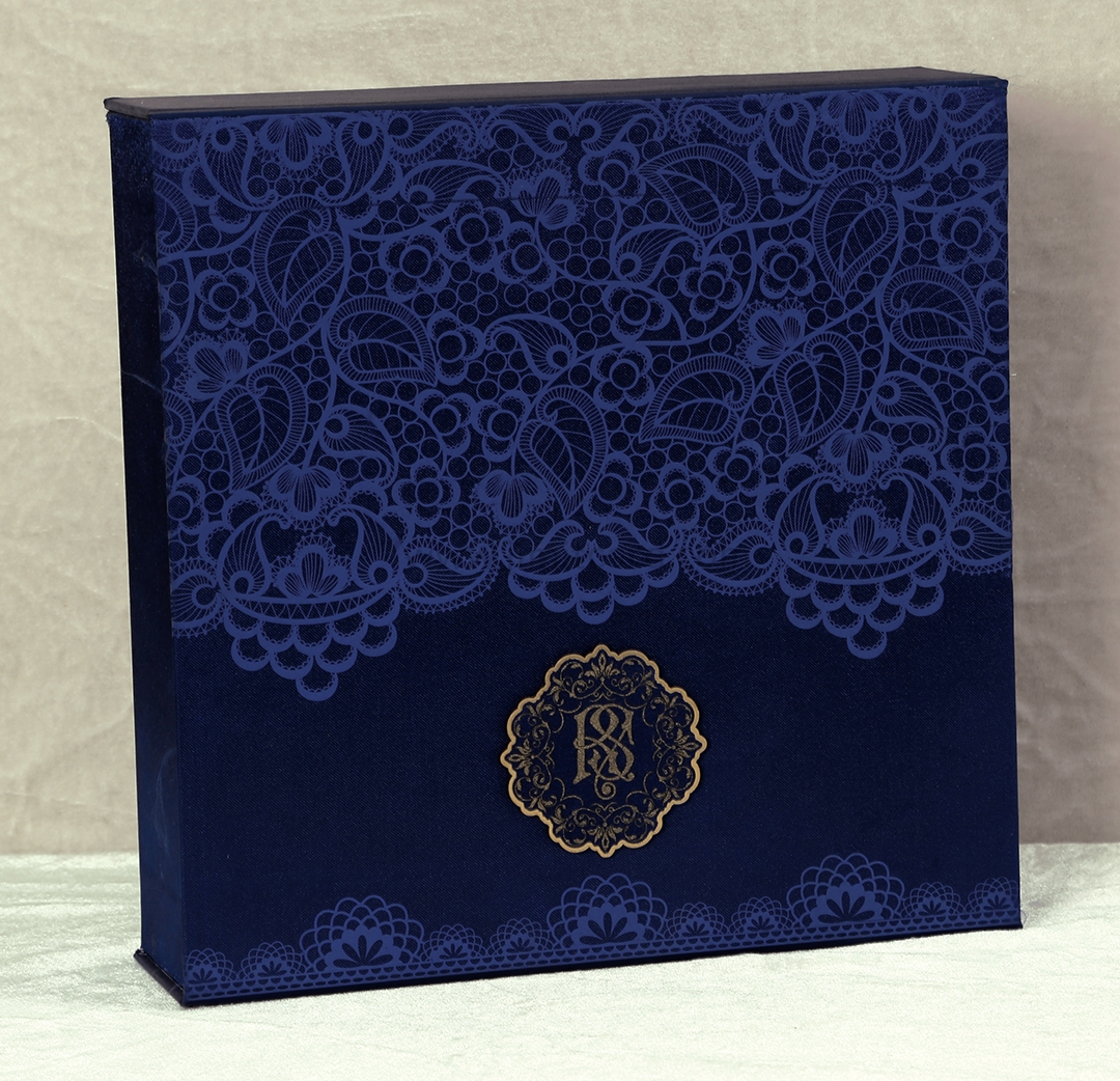 Designer Royal Boxed Indian Wedding Invitation Card in Rich Frabic-9290