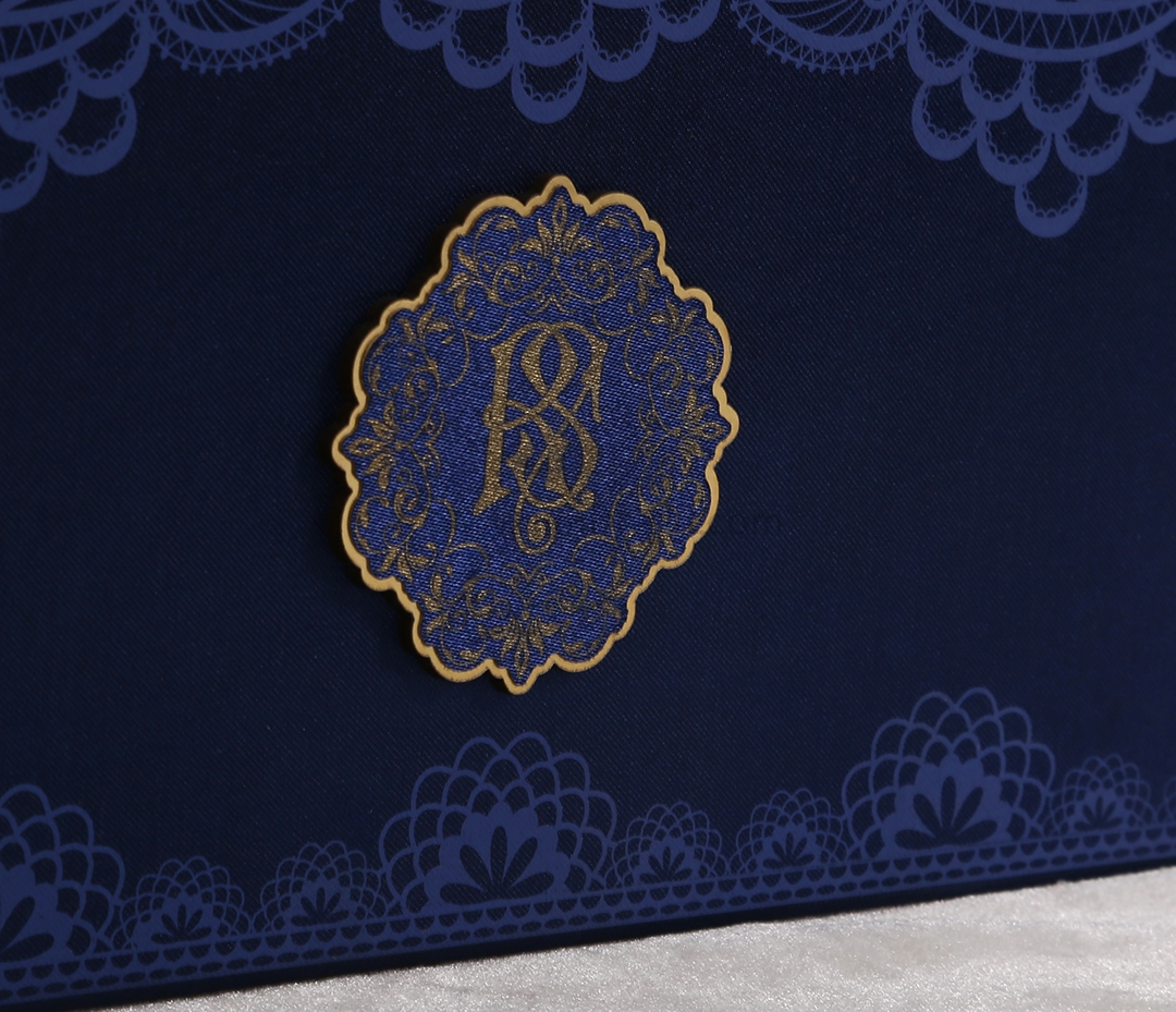 Designer Royal Boxed Indian Wedding Invitation Card in Rich Frabic-9292